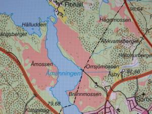 Kartan visar sandtallåsen mellan Brännmossen och Orrsjömossen. Foto: Tom Sävström