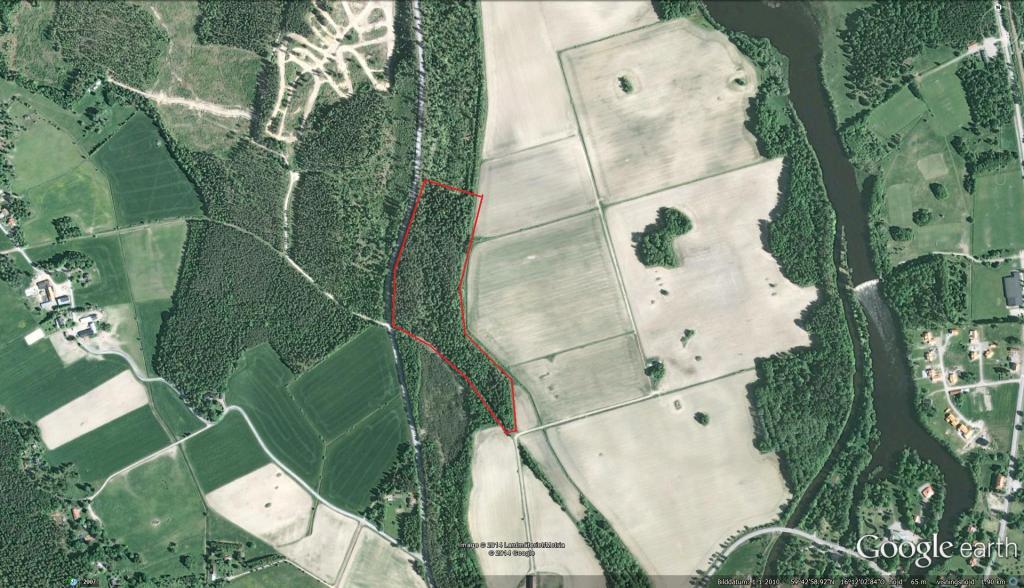 Slagghögarna är området inom den röda markeringen.