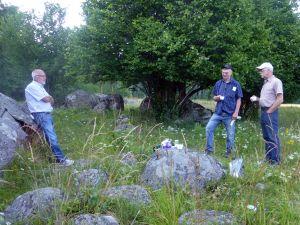 Fika i Västsura ekhage och diskussioner kring hagmarkernas värden, 22/7 2014. Här ses Lars Ramberg, Magnus Åstrand och Tom Sävström. Foto: Einar Marklund