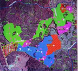 Karta över Lindmuren, där områden är färgmarkerade och numrerade. Siffrorna förklaras i inlägget.